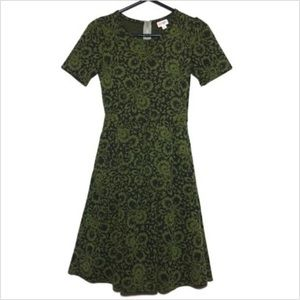 LulaRoe Black and Green Floral Print Amelia Dress